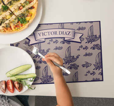 Personalized name vinyl placemats should be in every household. Amazing desing of fish and boats will make your family members really happy!