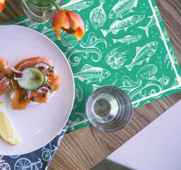 рыбные виниловые салфетки - потрясающее украшение для любого стола в вашем доме! выполненный из прочного материала, станет изумительным украшением!