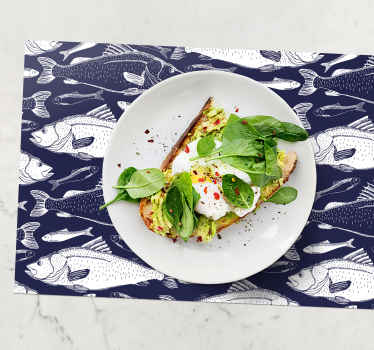 Rectangle placemats with the design of sketches of blue fish will look amazing on your table. Enjoy every meali with the set of those trendy placemats