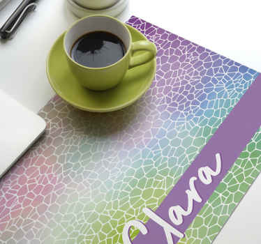 Wonderful modern pattern customisable name placemats to spark joy into your meal times! Discounts available when you sign up today.