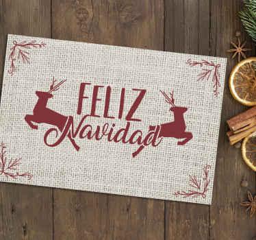 """Salvamanteles navidad de ciervos con frase """"feliz navidad"""" para decorar tu mesa en una fecha tan señalada. Alta calidad ¡Envío a domicilio!"""