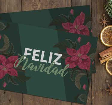 Mantel individual feliz navidad de flores tanto para hogares como para restaurantes. Es original, duradero y fácil de mantener ¡Envío exprés!