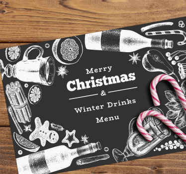 Christmas menu vinyl place-mat to enjoy meals on table during Christmas festivity. It is featured with various elements design that depicts Christmas.