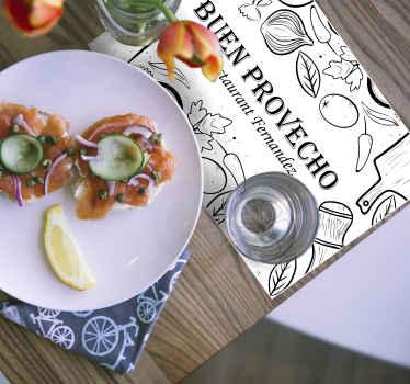 """Un mantel individual para restaurante moderno con el diseño de utensilios de cocina y texto que dice """"buen provecho"""" ¡Envío a domicilio!"""