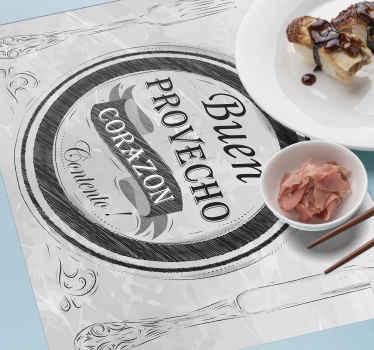 Un mantel individual para restaurante con frase para la mesa del restaurante. La cita dice '' panza llena corazón feliz '' ¡Envío a domicilio!