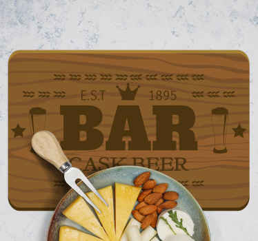 A decorative restaurant place-mat with a wooden texture with bar elements design. It is easy to use and made from high quality material.
