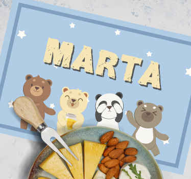 Adorable children placemat with cartoon character beers and customisable name. The product is made from high quality material.