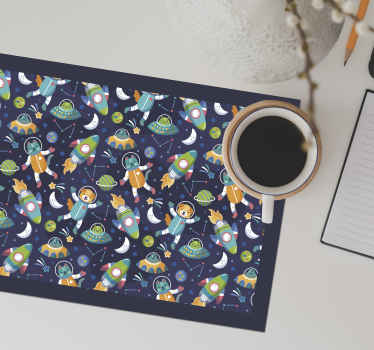 Children colorful table mat for dining space designed with amazing space featured in a fun and happy style. The product is made of high quality.