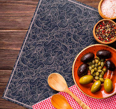 Rich tone vinyl place-mat with ornamental abstract design. It is decorative on a dinning table space and practical element to protect a table .