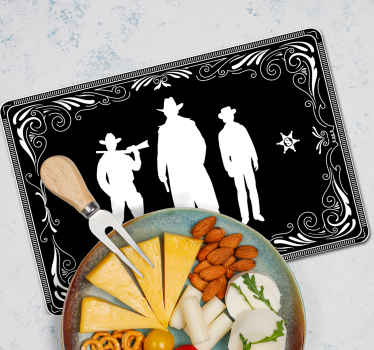A lovely cowboy home place-mat design. A design featured with the silhouette of three cowboys on a black background. Easy to maintain and store.