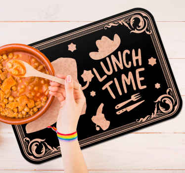 Colored home place-mat with the design of hat and boot and a text that says '' lunch time''. The product is made of good quality and easy to maintain.