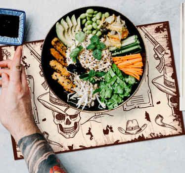 Manteles individualesvintage de iconos de vaquero para decorar la mesa de comedor con el estilo vintage más original ¡Descuentos disponibles!