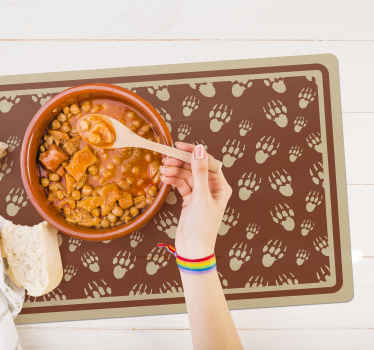 A fantastic dinning and kitchen place-mat made with the design footprints of porcupines. It is easy to apply and of good quality.