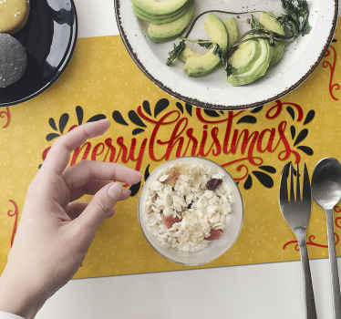 Christmas placemat which features the text 'Merry Christmas' on a decorated background. Discounts available. High quality.