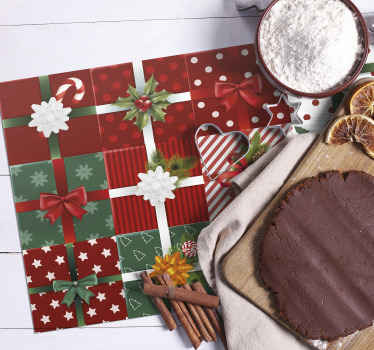 Gift box patterned Christmas place-mats design for homes, restaurants and bars. Made of high quality material and easy to maintain.