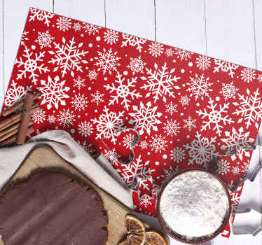 Red snowflakes Christmas place mats design. Made in rectangular shape and it would serve all your table service decorative purpose for Christmas.