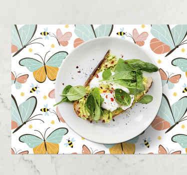 Décoration parfaite pour votre table. Ces tapis de cuisine comprennent une illustration de beaux papillons et abeilles colorés. sticker de haute qualité.