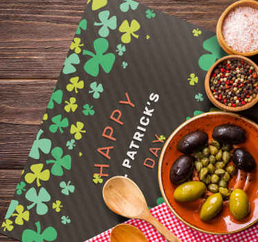 Fantastic rectangular  vinyl placemat with a Happy St Patrick's Day pattern. The product is original and made of high quality material.