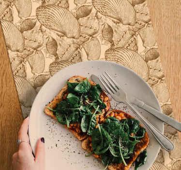 Haz de tu comedor un lugar de revista con nuestro encantador mantel individual vintage con diseño de concha marina ¡Elige el pack!