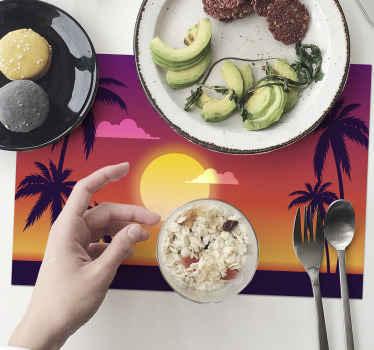 Set de table avec palmiers et coucher de soleil, excellente solution si vous souhaitez décorer votre cuisine. En sticker de haute qualité. 100% de satisfaction.