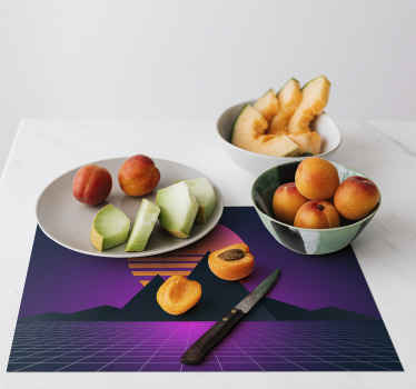 A retro sun and mountains placemat with 3d effect to decorate your table and keep it clean. High quality vinyl delivered to your front door!