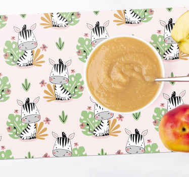 Children placemat with a yellow background and a design zebras with tree leaves that will fill with joy and tenderness the moment of your baby's meal.