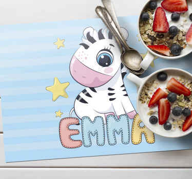 Kid table mat with the image of a cute zebra and a customizable name so that your child can feel identified while eating their food.
