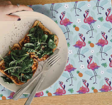 Flamingo placemat with cool flamingo pattern, ideal for keeping your table clean. They are washable and very durable. Order now!