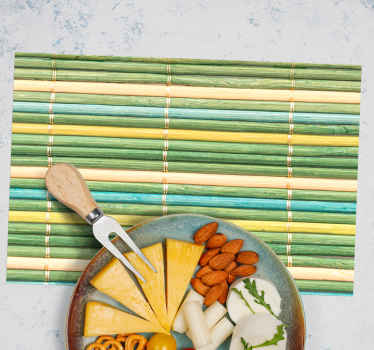 Searching for an original design as a placemat? Then you found the right page! See here our green bamboo textured vinyl placemats! Order now!