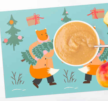 Well designed, these two fox carrying branches Christmas placemats will stand the test of time thanks to their anti-UV matte finish.