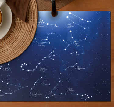 Elegant placemats of Blue zodiac stars. It is ideal for people which work on astronomy labs or people which really loves it.