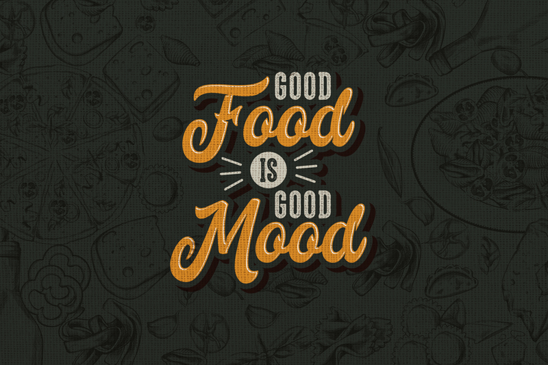 TenStickers. Food's sentences quote vinyl placemats. Have a look at black placemats with a funny text reminding us that good food is good mood! High quality product easy to clean!