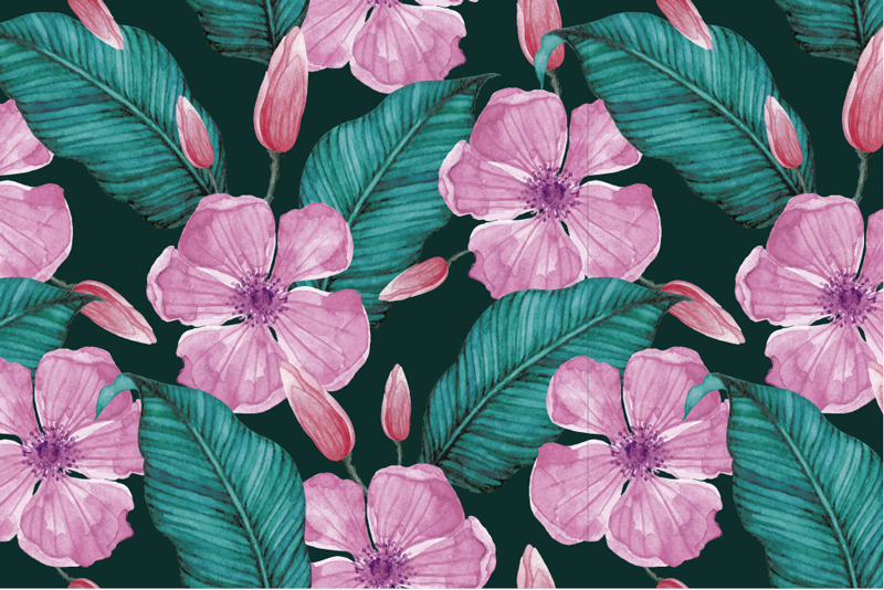 TenStickers. Big tropical flowers floral vinyl placemats. Placemats with flowers will create a spectacular impression on every table of your house. Pink flowers and leaves are just perfect for you!