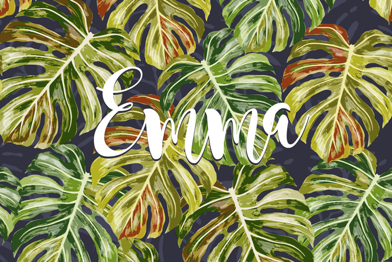 TenStickers. Personalised monstera floral vinyl placemats. Order this stunning green vinyl placemats and make all of your meals a spectacular piece of art thanks to this table mat with a name.