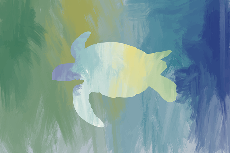 TenStickers. Watercolor sea turtle animal vinyl placemats. For all the art lovers and turtles fans around the world, these vinyl placemats with an abstract design of a turtle silhouette are perfect for you!