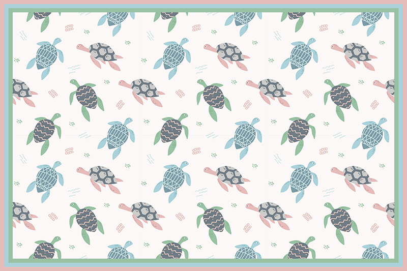 TenStickers. Soft color turtles turtle vinyl placemats. Surprise your kids at dinner time with these fantastic children vinyl placemats with a design of many cute turtles in soft colors.