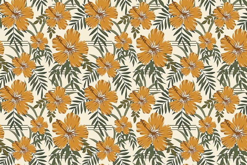 TenStickers. Platzset Print Gelbe tropische Blumen. Fantastische Tischsets voller gelber, tropischer Blumen auf dem ordentlichen weißen Hintergrund. Jeder wird von diesen Platzsets begeistert sein!