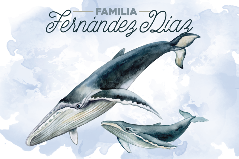 TenStickers. Whale family fish vinyl placemats. Blue coloured vinyl placemats showcase the family of whales that will amazed anyone with its beauty. Rectangle table mats perfect for you!
