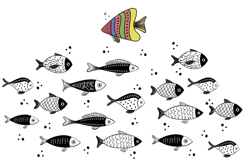 TenStickers. Counterflow fish vinyl placemats. Rectangle placemats are filled with the design of fish in black and white colours with one fish filled with colours of the rainbow. Be different!