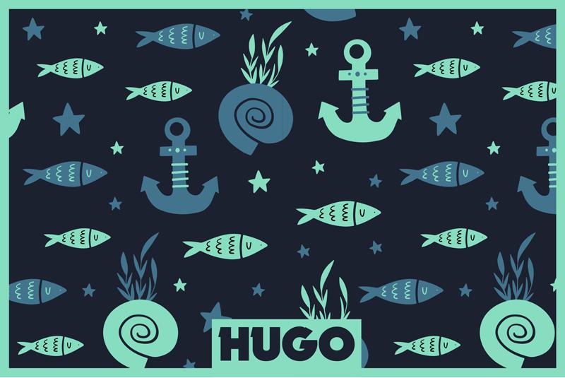 TenStickers. 鱼和海鱼餐垫下的锚点. 带有鱼和海符号设计的个性化名称餐垫是由这种颜色完美组合而成的!注册可获得10%的折扣!