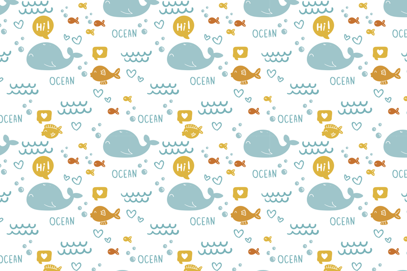 TenStickers. Colorfull and happy ocean fish vinyl placemats. Rectangular placemats with fish will be fantastic as kids placemats. Whales, fish and waves in such a beautiful colour! Available in many sizes!