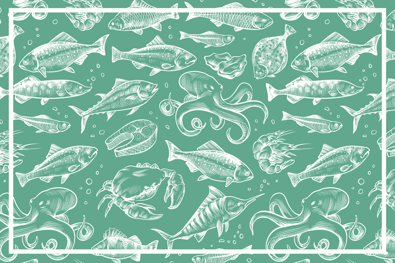 TenStickers. Podkładki na stół szkic ryb rysunek. Podkładki na stół z rybami są niesamowitą ozdobą każdego stołu w domu! Wykonane z trwałego materiału, będą niesamowitą ozdobą!