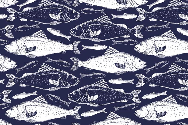 TenStickers. Tovaglietta americana texture Pesce sotto il mare. Tovagliette rettangolari con il disegno di schizzi di pesce azzurro saranno fantastici sul tuo tavolo. Goditi ogni pasto con il set di queste tovagliette alla moda