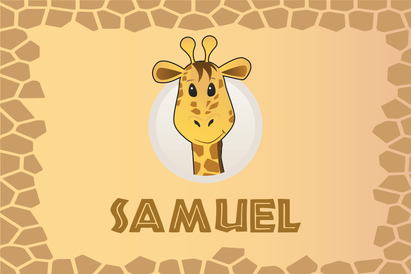 TenStickers. Go to eat customisable name name vinyl placemats. Funny personalized name children place-mat featured with an animal design. It is original, durable and made from high quality.