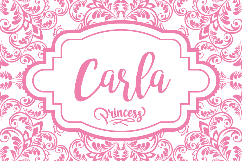 TenStickers. Customisable name for princess name vinyl placemats. An ideal personalized name table place-mat that is suitable for children. It is printed with pink ornamental flower design with a princess tag.