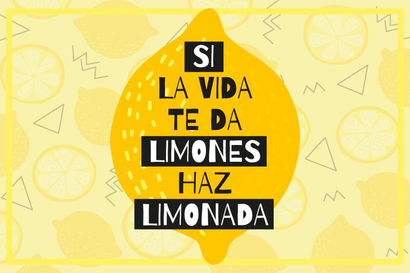 """TenVinilo. Mantel individual frase si la vida te da limones. Mantel individual frase de cita popular creado sobre un fondo amarillo """"si la vida te da limones, haz limonada"""" ¡Envío a domicilio!"""
