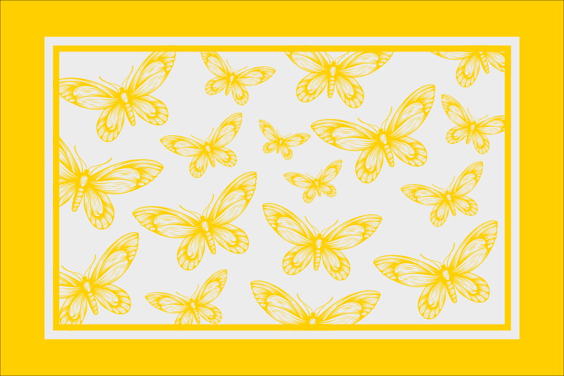 TenStickers. Yellow butterflies elegant vinyl placemats. An elegant vinyl table place-mat  for home and restaurant use.  It is featured with yellow background with different butterflies.
