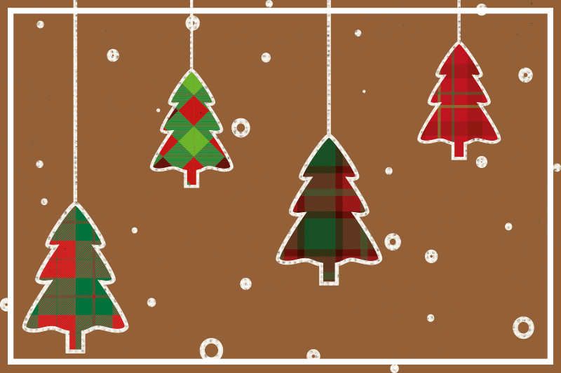 TenStickers. Christmas trees brown background Christmas placemats. Christmas vinyl placement mat to decorate the table space in the kitchen and dining room. It is comfortable to use of high quality.