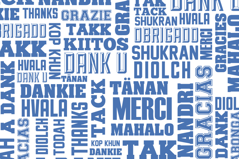 TenStickers. Thanks in many languages restaurant vinyl placemats. A text placemat designed with thank you text in different languages. It is easy to use and maintain. It is made from high quality material.