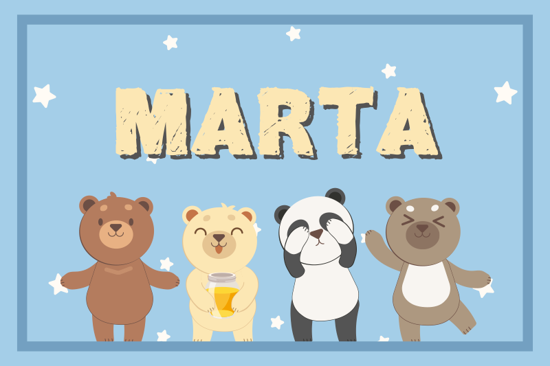 TenStickers. Adorable bear customisable children vinyl placemats. Adorable children placemat with cartoon character beers and customisable name. The product is made from high quality material.